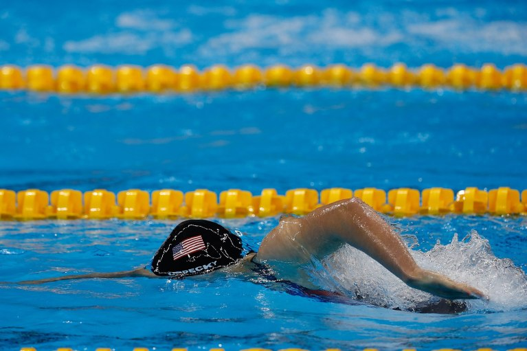 American Katie Ledecky swims at the 2016 Rio de Janeiro Olympics