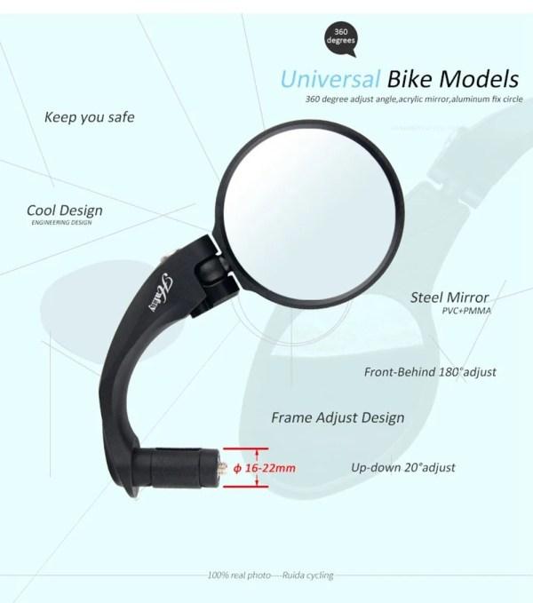 Bicycle Rear Mirror MTB Bike Road Bike Mountain Bike Handlebar End Safety Back Mirror