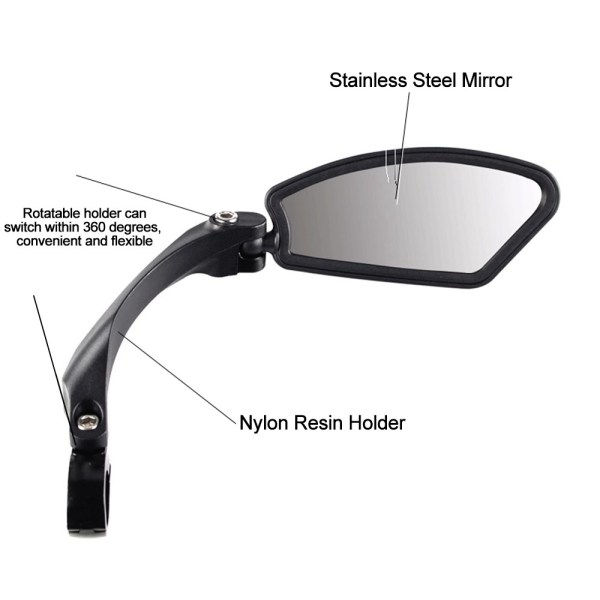 360 Degree Rotatable Bicycle Rearview Mirror Bike Flexible  Safety Side Mirror