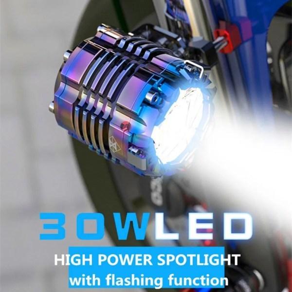 Motorcycle Spotlight Headlight Headlamp 30w Led Super Light Dc9-70v Universal