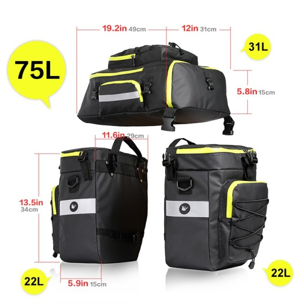 Waterproof Multifunctional Bike Rear Pannier Bicycle 3 in 1 Trunk Bags Cycling Luggage Carrier with Reflective Strip