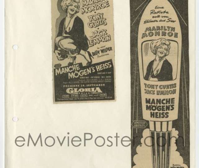 3s135 Lot Of 2 Some Like It Hot German Newspaper Ads 1959 Great Artwork Of Sexy Marilyn Monroe