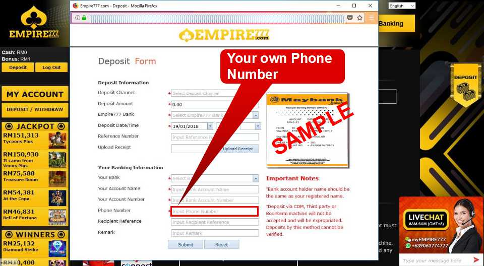 Malaysia Online Casino Empire777 Deposit Form Guide 12