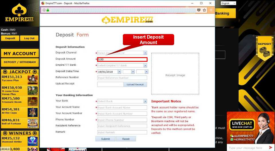 Malaysia Online Casino Empire777 Deposit Form Guide 5