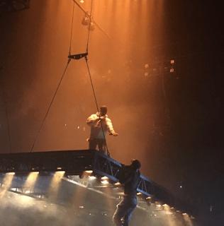 Kanye Saint Pablo Tour Fan Climbs Stage Atlanta