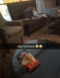 NBA Youngboy Girlfriend Sleeping In Hotel Lobby