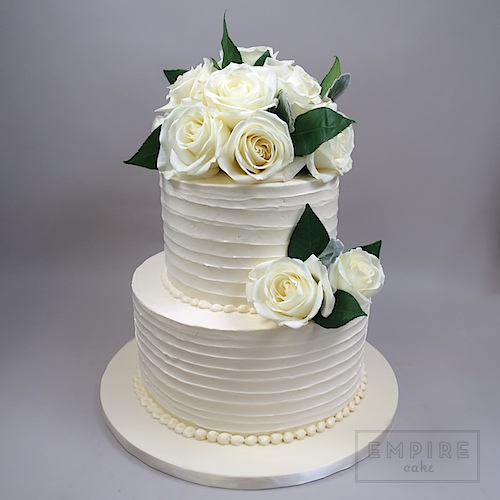 Textured Buttercream And White Roses Empire Cake