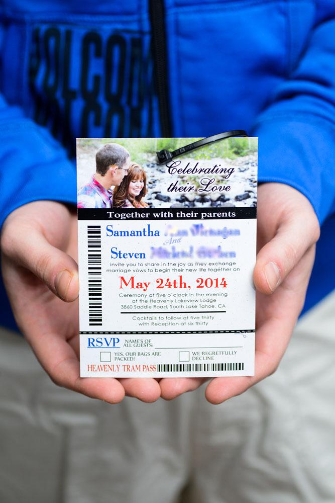Ski Pass Lift Ticket Wedding Invitations To Lakeview Lodge Tahoe EMPIRE INVITES