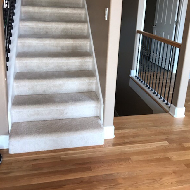 Portland Home Gets The Best Of Both Worlds With Plush Carpet And   Wooden Floor And Carpet On Stairs   Carpet Runner   Downstairs   Middle Stair   Popular   Wood Riser