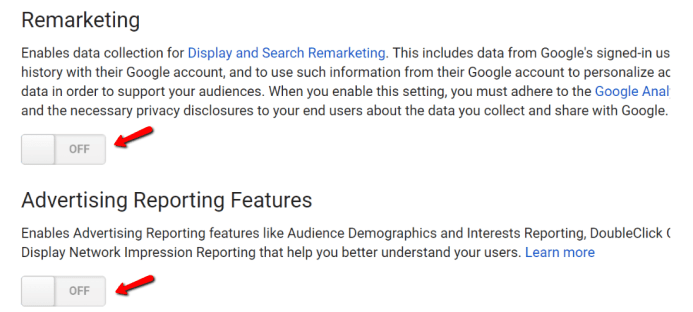 Google Analytics Advertising & Remarketing Features settings for GDPR