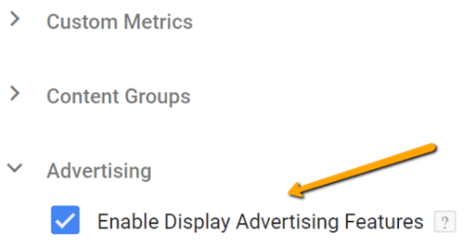 Google Analytics Advertising Features settings via Google Tag Manager