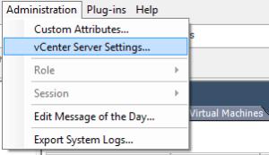 vcenter settings