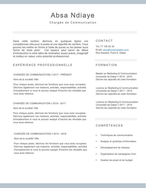Exemple de CV Simple Sine Saloum