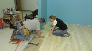 Merrianne and I working on the floor