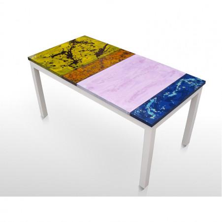 Tavolo ovale in pietra vulcanica con base di ferro zincata decorato a mano come da tradizione derutese. Modern Tables Emporio Della Ceramica