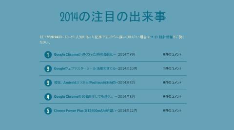 アニュアルレポート2014-2014の注目の出来事