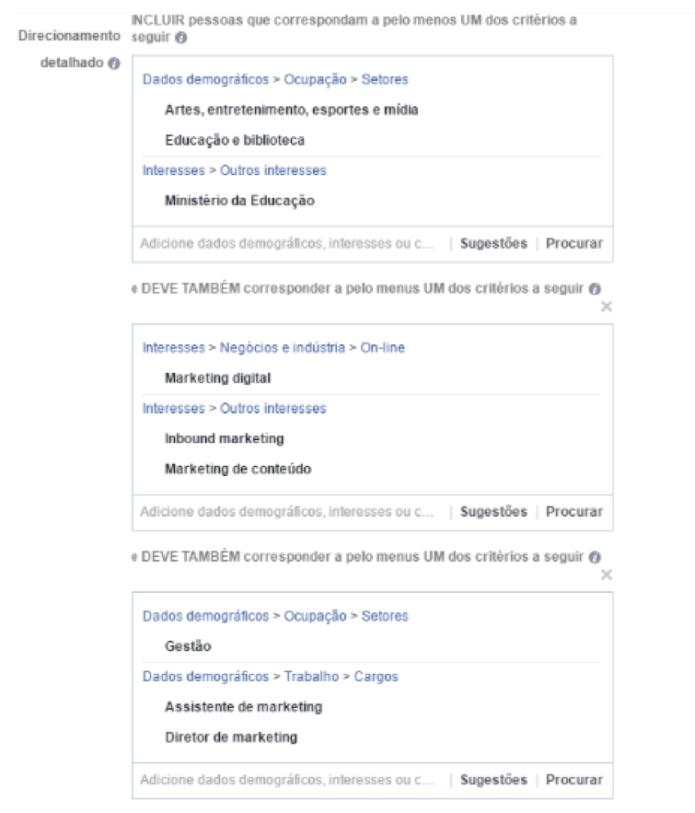 interesses no facebook