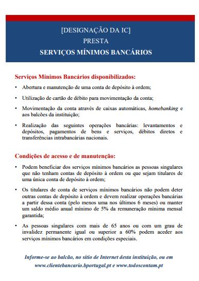 Serviços Minimo Bancarios