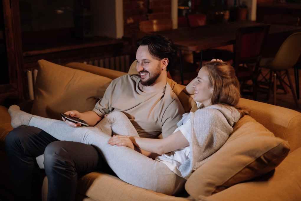 couple love sitting evening