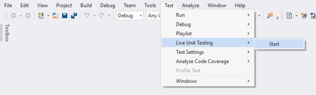Start Live Unit Testing