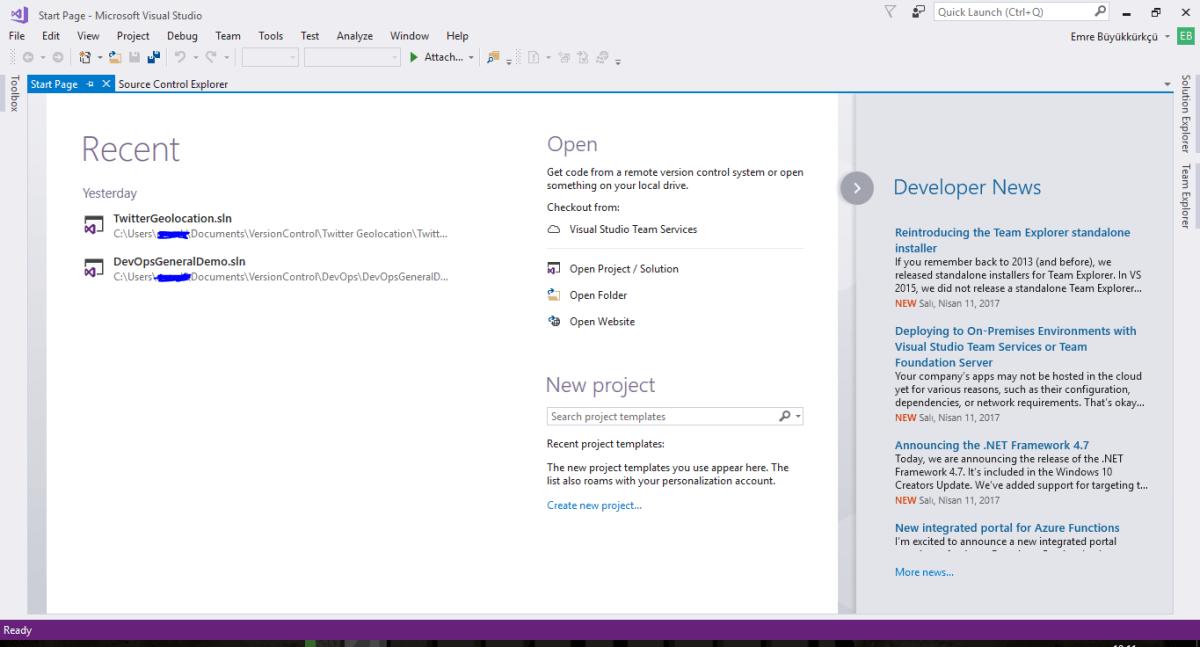 Visual Studio 2017 Start Page