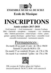 Affiche inscriptions 2017-2018