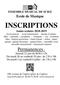 Affiche inscriptions 2018-2019