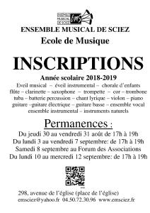 Affiche inscriptions 2018-2019 2