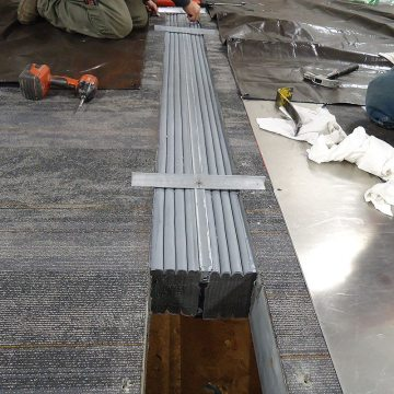SJS-FR floor expansion joint application, precompressed foam EMSEAL