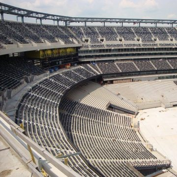 The massive bowl of MetLife Stadium is 2 miles around in circumference. It is divided into 4 sections by 24-inch wide structural expansion joints.