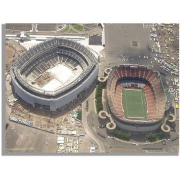 The new stadium was erected immediately adjacent to the old.