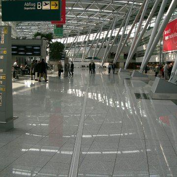 GDR airport floor expansion joints Dusseldorf airport Migutrans FS 110 departures Migua EMSEAL