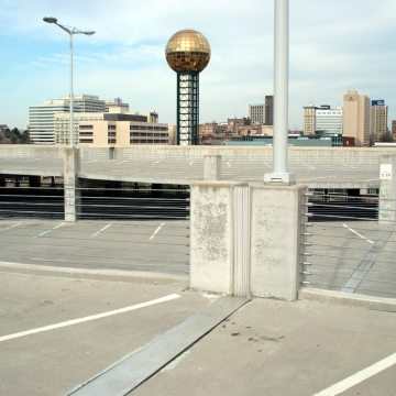 SJS Seismic Joint System installed at the University of Tennessee 11th St Parking Garage.
