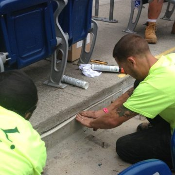 Precast stadium riser connections are notorious maintenance items where caulk-and-backerrod are used. Colorseal-On-A-Reel is a quick and easy replacement with near permanent results