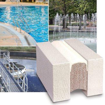 Fuentes, agua potable, tratamiento de aguas residuales, piscinas y parques acuáticos son aplicaciones para Submerseal.