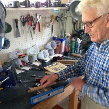 Peter Hensley in his workshop working on SJS samples