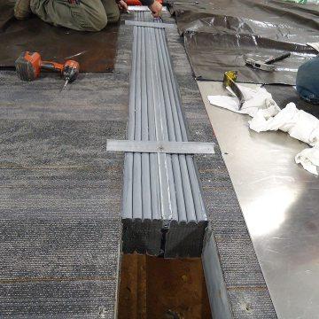 SJS-FR floor expansion joint application, precompressed foam EMSEAL