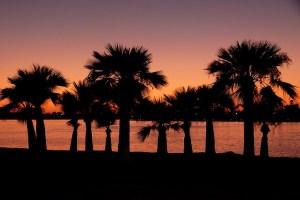 A San Diego beach during dusk.