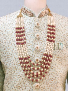 Cream with Maroon Moti Mala for groom