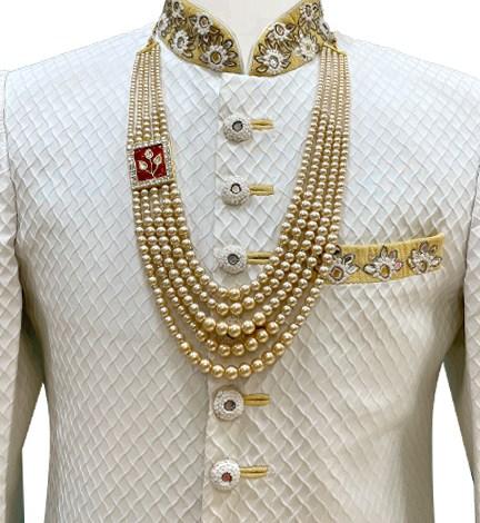 Gold One Side Brooch Moti Mala-wedding brooch for groom
