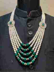 Green with Cream Moti Mala for groom