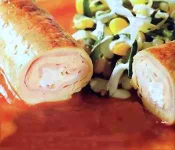 Crujientes rollitos de pollo, queso y champiñones. Sencillamente irresistibles