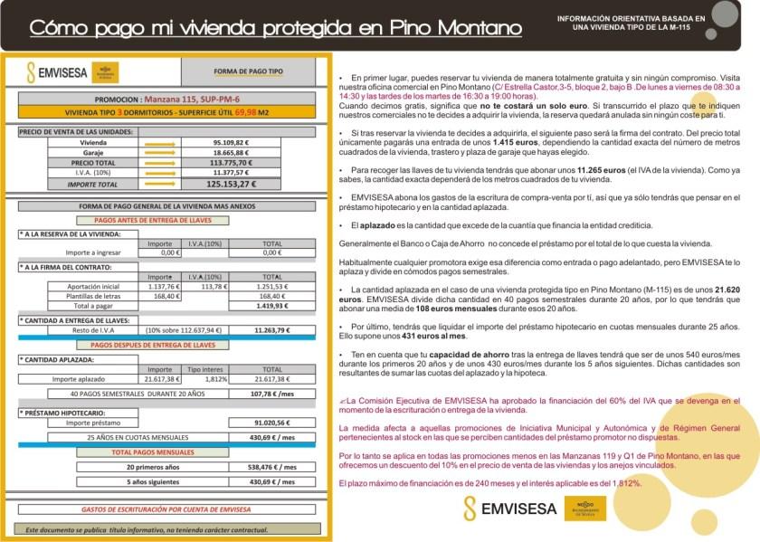 Forma de pago tipo de una vivienda de Pino Montano.
