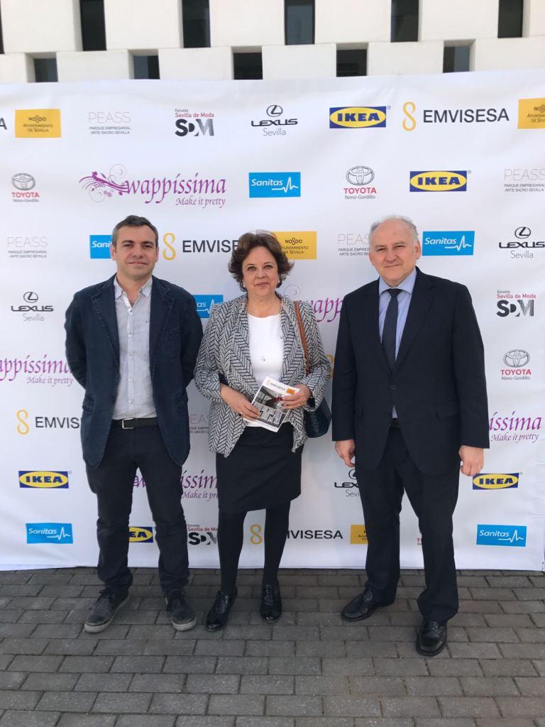 De izquierda a derecha: Felipe Castro, Carmen Castreño y Francisco Valderrama en la inauguración de la Jornada de Puertas Abiertas del Parque Empresarial Arte Sacro.