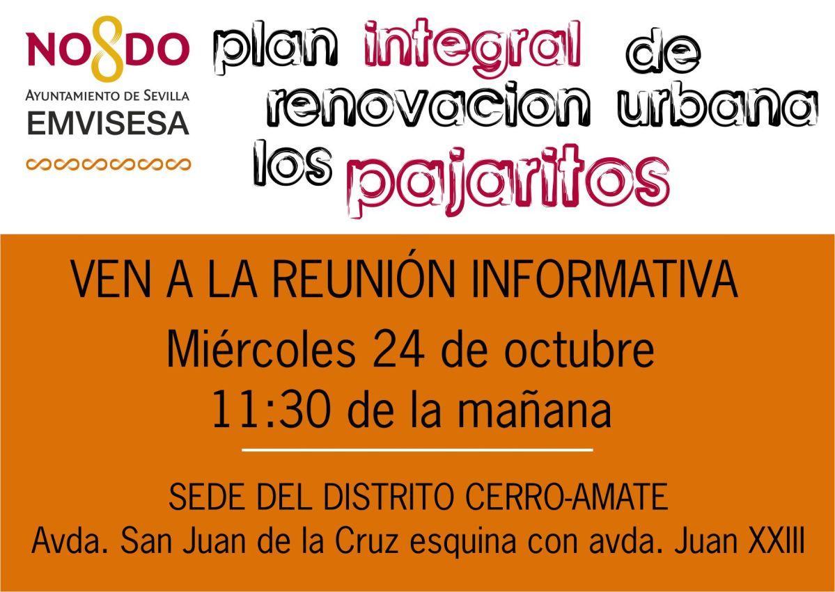 """Mañana, miércoles 24 de octubre a las 11:30 de la mañana, Emvisesa explica a los vecinos interesados en qué consiste la """"Bolsa de Permuta de Viviendas de Los Pajaritos"""" en la sede del distrito Cerro-Amate"""