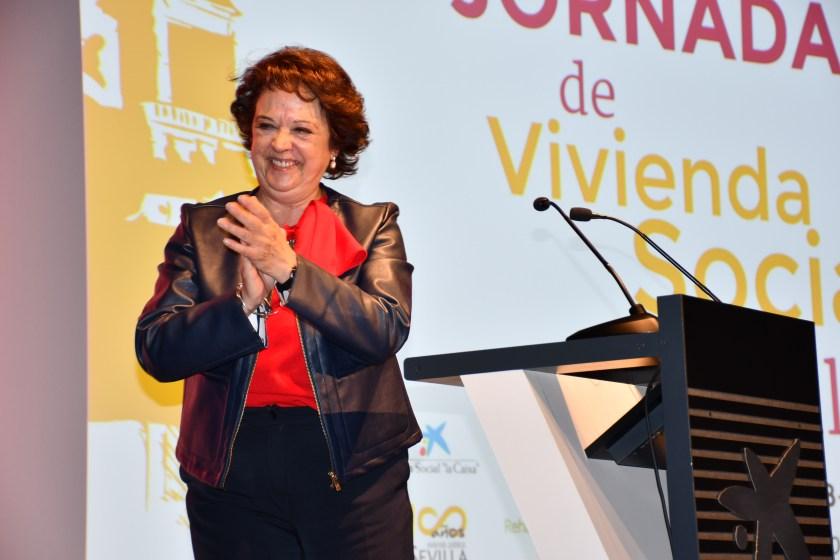 Carmen Castreño, presidenta de Emvisesa, durante la inauguración de las III Jornadas de Vivienda Social de Sevilla.