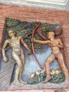 Fresque hôtel de ville Oslo mort de Balder trahi par Loke
