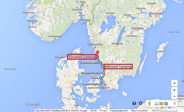 Itinéraire voyage à vélo Copenhague - Varberg EuroVelo 7