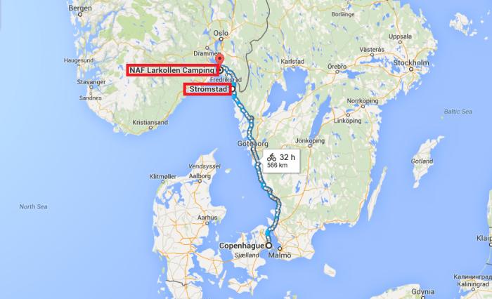 Itinéraire voyage à vélo Copenhague - Larkollen EuroVelo 7 EuroVelo 12