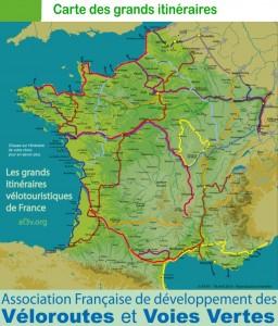 Carte AF3V des grands itinéraires à vélo en France